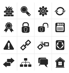 Black internet and web site icons vector