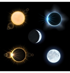 Sun moon and suns moons eclipse set vector