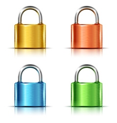 Set of multicolored closed padlocks vector