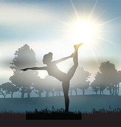 Female in yoga pose in countryside vector