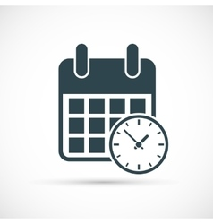 Calendar with clock icon vector