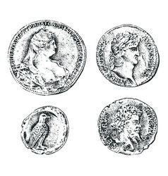 ancient coins or gold and silver money roman and vector image