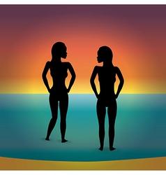 beach bikini women silhouette vector image vector image