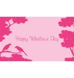 Bir and tree silhouettes landscape for valentine vector image vector image