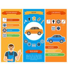 car repair mechanics services infographics vector image