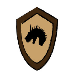 Cartoon shield knight dragon fairy tale emblem vector