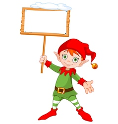 Christmas elf with sign vector