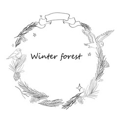 Christmas frame with forest vector