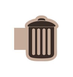 Color emblem with silhouette metal trash bin vector