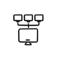 Computer network sketch icon vector