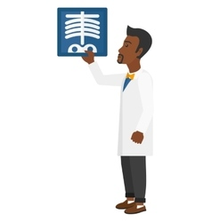 Doctor holding radiograph vector