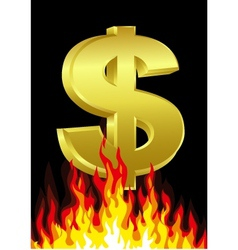 dollar on fire vector image vector image