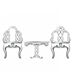 Elegant table and chairs furniture set vector