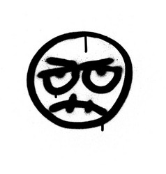 Graffiti angry emoji sprayed in black over white vector