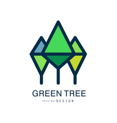 green tree logo template original design abstract vector image