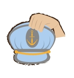hand holding marine cap captain boat with anchor vector image