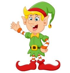 Happy green elf waving vector