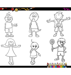 kids set coloring page vector image