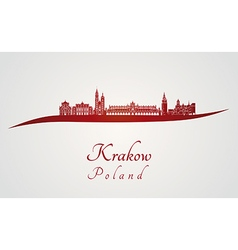 Krakow skyline in red vector image vector image