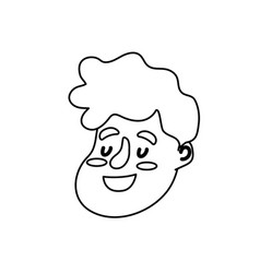 Line avatar happy man face with hairstyle design vector