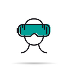 Line icon - man with virtual reality mask vector