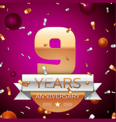 Nine years anniversary celebration design vector