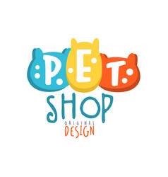 Pet shop logo template original design colorful vector