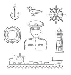 Sailor seaman and captain profession design vector