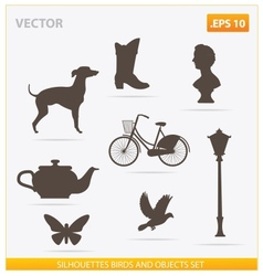silhouettes birds and objects set vector image vector image