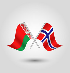 Two crossed belarusian and norwegian flags vector