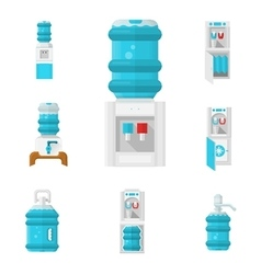 Water coolers flat color icons set vector