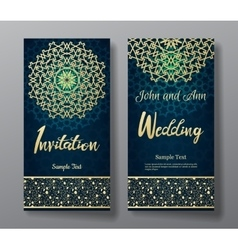 Wedding invitation card with arabic mandala vector