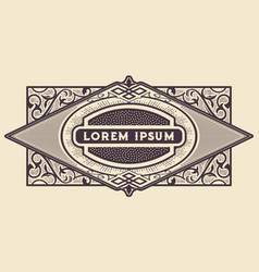 western frame border vintage label hand drawn vector image