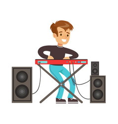 young boy playing electric piano colorful vector image vector image