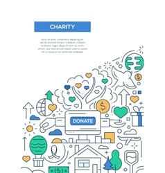 Charity - line design brochure poster template A4 vector image