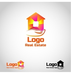 Bright real estate agency logo template with house vector image