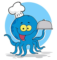 Octopus chef serving food vector