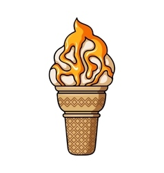 Ice cream in waffle cup icon in cartoon style vector image
