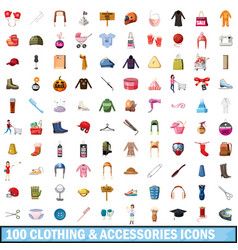 100 clothes and accessories icons set vector image
