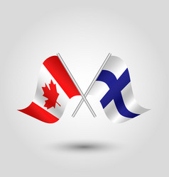 two crossed canadian and finnish flags vector image