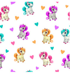 Cute seamless pattern with funny cartoon pony and vector