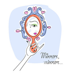 Woman looking in the mirror line art eps vector