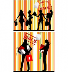 shopping silhouettes vector image