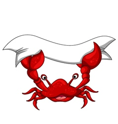 cute crab cartoon with blank sign vector image