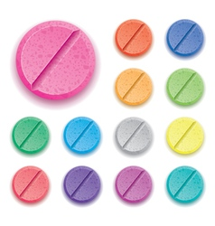 Colorful drug pills vector