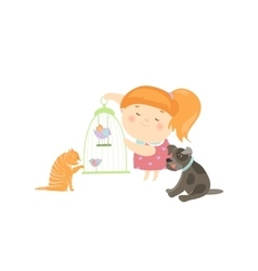 Cute girl surrounded by different types of pets vector