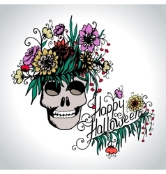 Halloween hand drawn card with skull in flowers vector