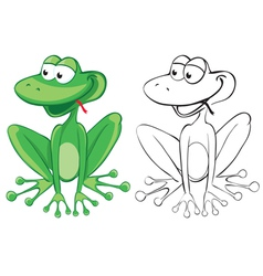 Funny frog color and bw outline vector