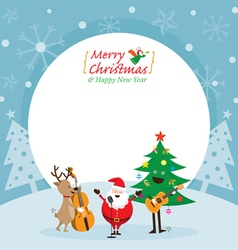 Santa claus snowman reindeer playing music vector