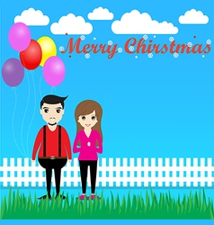 Couple with balloons in christmas vector
